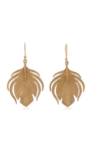 Small Peacock Feather 14K Yellow Gold Earrings