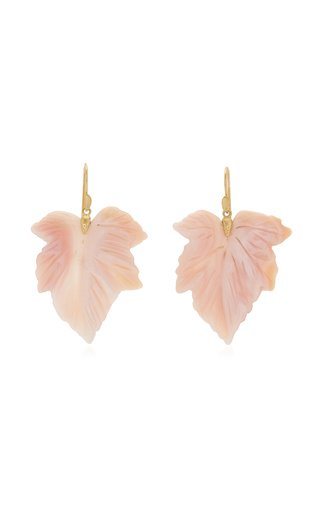Fancy Leaf 18K Yellow Gold Mother-Of-Pearl Earrings