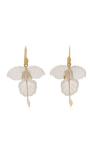 Fancy Orchid 18K Yellow Gold Quartz, Pearl Earrings