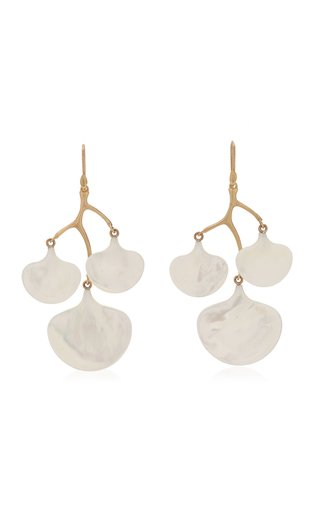 Ginkgo Branch 14K Yellow Gold Mother-Of-Pearl Earrings