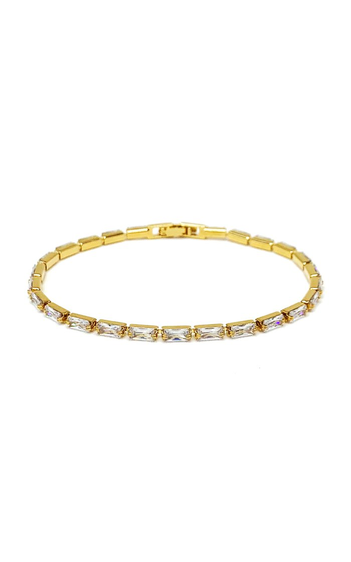 14K Gold-Plated Baguette Crystal Tennis Bracelet