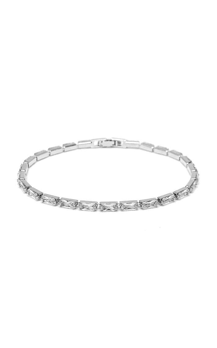 Platinum-Plated Baguette Crystal Tennis Bracelet