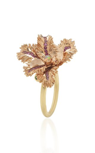 Small Tulip 18K Rose and Yellow Gold Multi-Stone Ring