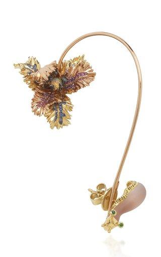 3-In-1 Tulip and Slug 18K Gold, Sterling Silver Multi-Stone Ear Cuff