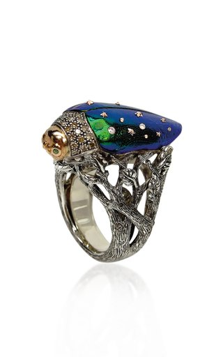 Scarab 18K Rose Gold, Sterling Silver Multi-Stone Ring