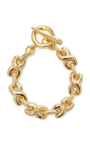 14K Gold-Plated Twisted Bold Link Bracelet