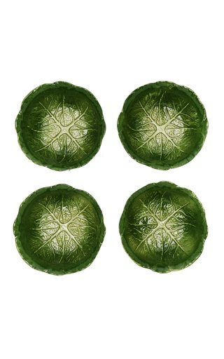 Farm-To-Table By MODA DOMUS, Set-Of-Four Medium Handpainted Ceramic Cabbage Salad Bowls