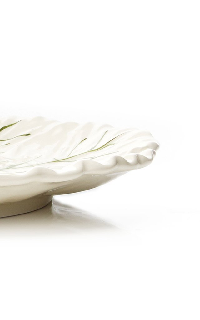 Set-Of-Four Painted Ceramic Cabbage Dinner Plates
