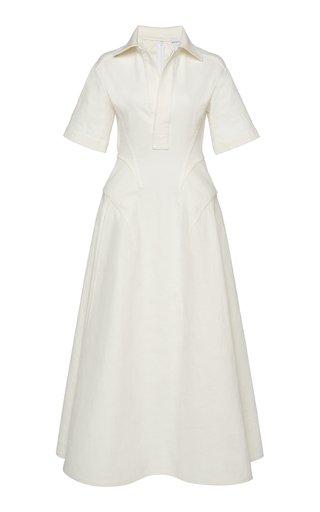 Hip-Detailed Linen Canvas Midi Shirt Dress