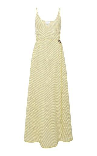 Striped Cotton-Blend Mesh Maxi Dress