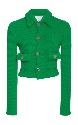 Cropped Cotton-Blend Mesh Jacket