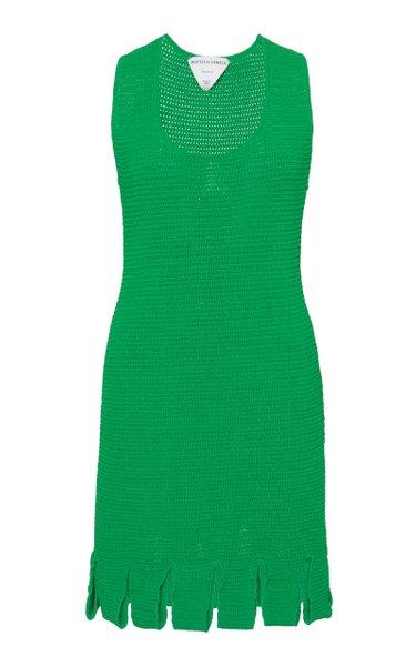 Carwash-Hem Cotton-Blend Mesh Mini Dress