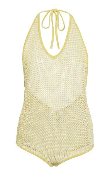 Striped Crocheted Cotton-Blend Bodysuit
