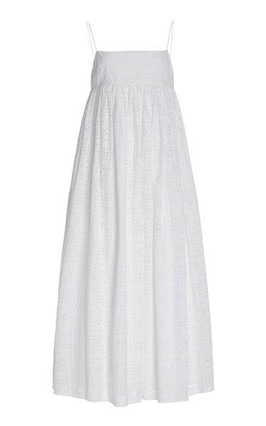 Sleeveless Broderie-Cotton Maxi Dress