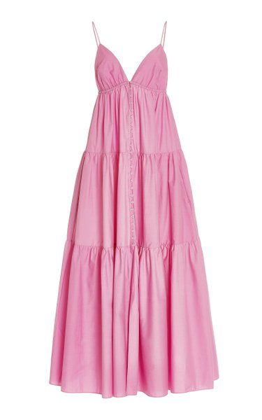 Tiered Organic Cotton Button-Front Maxi Dress