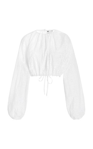 Broderie-Cotton Cropped Blouse