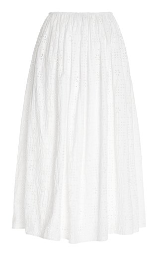 Broderie-Cotton Maxi Skirt