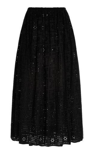 Broderie-Cotton Maxi Skirt