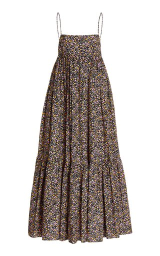 Tiered Floral Organic Cotton Maxi Dress
