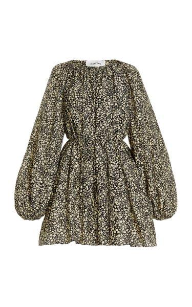 Voluminous Cotton-Silk Mini Dress