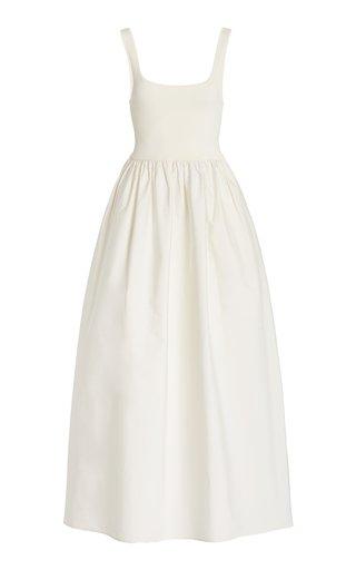 Stretch-Jersey and Cotton Midi Dress