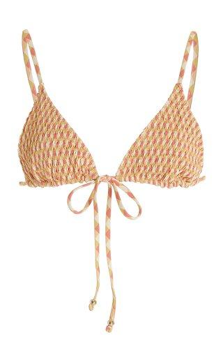 Kya Smocked Printed Bikini Top