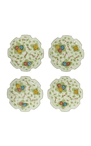Fiorito by MODA DOMUS, Set-Of-Four Handpainted Cut Out Ceramic Dessert Plates