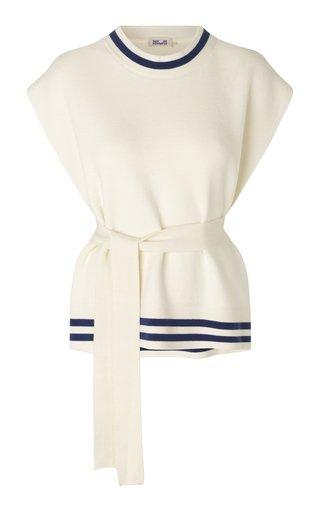 Cressa Belted Cotton-Blend Sweater Vest