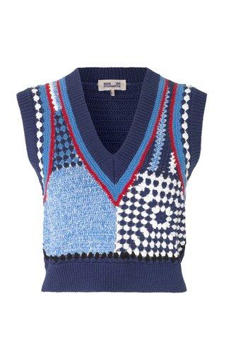 Cicilla Crochet-Knit Sweater Vest