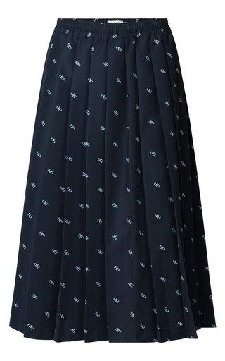Simoni Pleated Recycled-Poplin Skirt