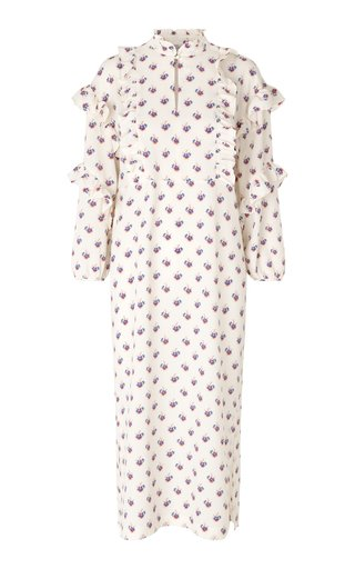 Ahadi Printed Ruffle-Trimmed Poplin Dress