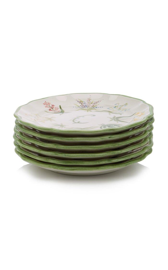 Set-Of-Six Painted Ceramic Salad Plates