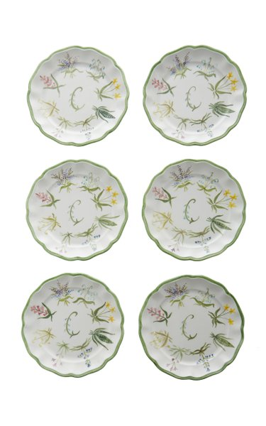 Set-Of-Six Painted Ceramic Salad Plates