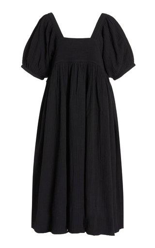 Brigitte Short-Sleeve Cotton-Gauze Maxi Dress