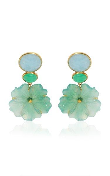 18K Yellow Gold Aquamarine, Chrysoprase, Onyx Earrings