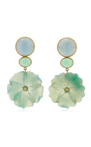 18K Yellow Gold Aquamarine, Chrysoprase, Onyx Earrings