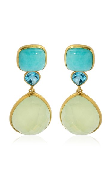 18K Yellow Gold Amazonite, Topaz, Praynite Earrings