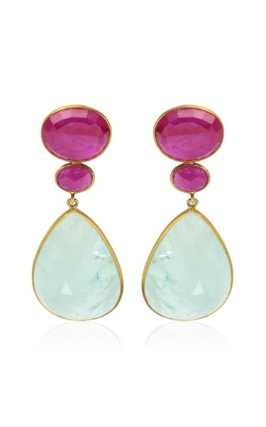 18K Yellow Gold Ruby, Aquamarine Earrings