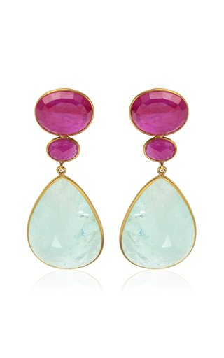 18K Yellow Gold Ruby, Aquamarine Earrings