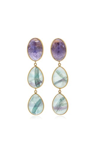 18K Yellow Gold tanzanite, Fluorite, Earrings