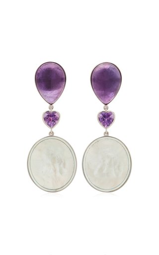 18K White Gold Amethyst, Mother-Of-Pearl Earrings