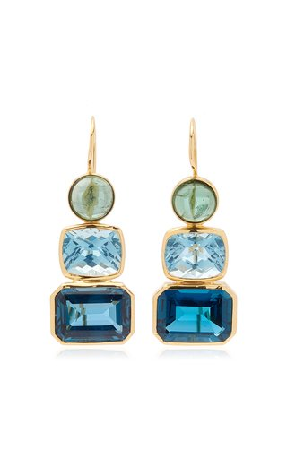 18K Yellow Gold Tourmaline, Topaz Earrings