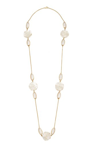 18K Yellow Gold Crystal, Mother-Of-Pearl Necklace