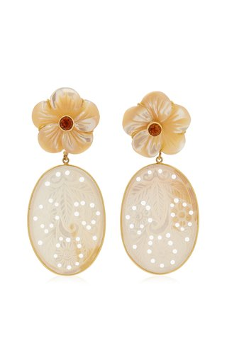 18K Yellow Gold Mother-Of-Pearl, Citrine Earrings