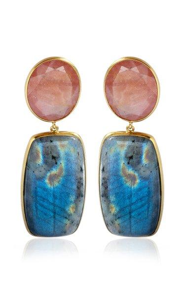 18K Yellow Gold Sapphire, Labradorite Earrings