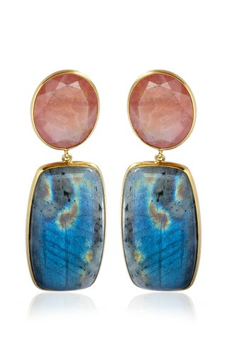 18K Yellow Gold Sapphire, Labradorite Earrings