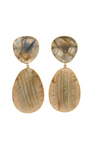 18K Yellow Gold Labradorite Earrings