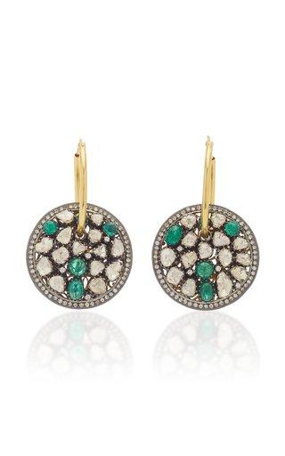 14K Yellow Gold Emerald, Diamond Earrings