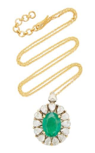 Heirloom 18K Yellow Gold Emerald, Diamond Necklace