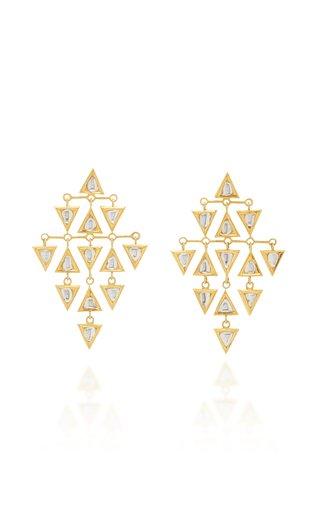 Kundan Vintage 18K Yellow Gold Diamond Earrings